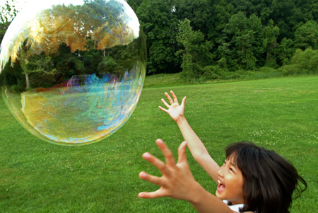 TamAhn chasing a large soap bubble, Rockville, Maryland : Life's Moments : Michael Ventura Photography, Washington DC, Portraits, Stock, Caribbean, Headshots, head, shots , Photographer, Photography