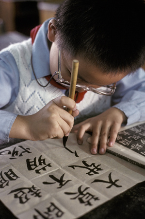 A Shanghai Chinese school boy practices his writing : Travel World : Michael Ventura Photography, Washington DC, Portraits, Stock, Caribbean, Headshots, head, shots , Photographer, Photography