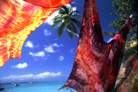 Tie dyed cloths wave in the trade wind at Pidgeon Point, Tobago : Travel Caribbean : Michael Ventura Photography, Washington DC, Portraits, Stock, Caribbean, Headshots, head, shots , Photographer, Photography